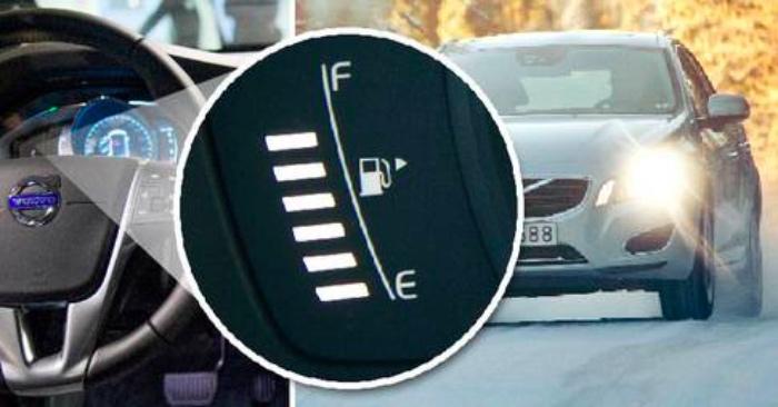 Avslöjad! Här är hemligheten med den lilla pilen på bilens bränslemätare!