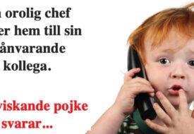 En orolig chef ringer hem till sin frånvarande kollega – En viskande pojke svarar…