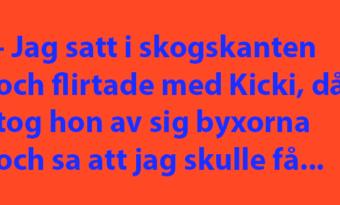 Kjell Göran satt och flirtade med Kicki då hon tar av sig byxorna…