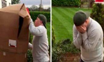 Pojken med Downs syndrom får ett stort, mystiskt paket levererat – men SE vad som händer när han ser vad den innehåller!