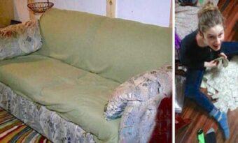 Studenter köpte en ful och illaluktande soffa för 200 kronor. Men då hittade de det HÄR!!